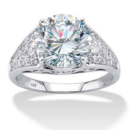 Round Cubic Zirconia Pave Engagement Ring 4.55 TCW in Sterling Silver at PalmBeach Jewelry