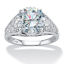 Round Cubic Zirconia Pave Engagement Ring 4.55 TCW in Sterling Silver