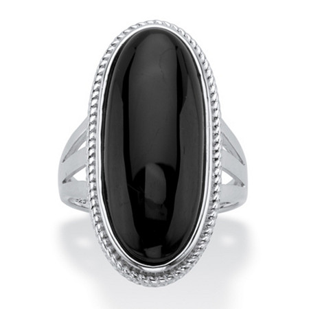 Genuine Black Onyx Oval Cabochon Ring in Sterling Silver at PalmBeach Jewelry