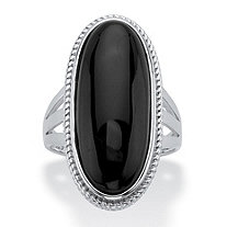 Genuine Black Onyx Oval Cabochon Ring in Sterling Silver
