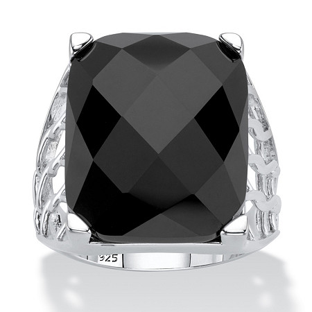 Checkerboard-Cut Genuine Black Onyx Rectangular Ornate Ring in Sterling Silver at PalmBeach Jewelry