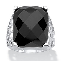 Checkerboard-Cut Genuine Black Onyx Rectangular Ornate Ring in Sterling Silver