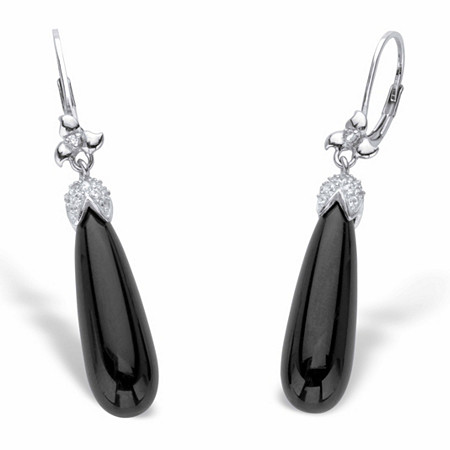 "Genuine Black Onyx and Cubic Zirconia Teardrop Earrings .38 TCW in Sterling Silver 1 7/8"" at PalmBeach Jewelry"