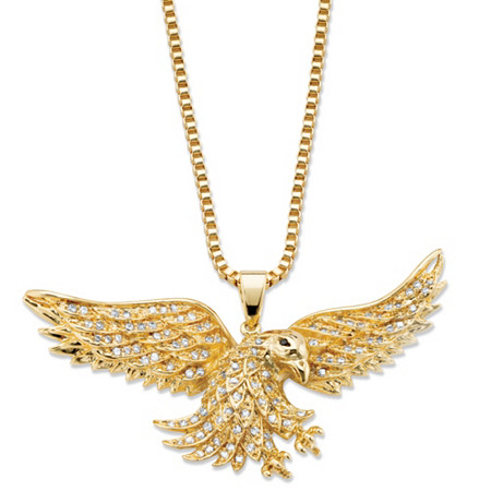 """Men's Cubic Zirconia Flying Eagle Pendant Necklace 1 TCW 14k Gold-Plated 24"""" at PalmBeach Jewelry"""