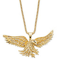 Men's Cubic Zirconia Flying Eagle Pendant Necklace 1 TCW 14k Gold-Plated 24""