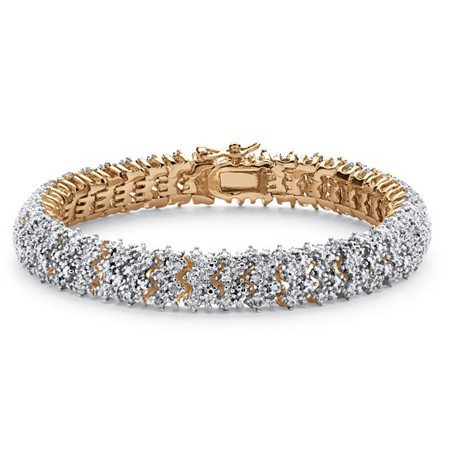 "Round Diamond Snake-Link Bracelet 7/8 TCW 18k Yellow Gold-Plated 8"" at PalmBeach Jewelry"