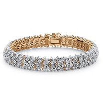 Round Diamond Snake-Link Bracelet 7/8 TCW 18k Yellow Gold-Plated 8""