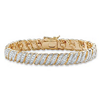 Diamond Accent Two-Tone Pave-Style S-Link Tennis Bracelet 14k Gold-Plated 8""