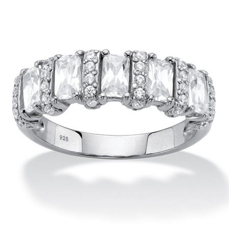 Baguette-Cut Cubic Zirconia Anniversary Ring 1.99 TCW in Sterling Silver at PalmBeach Jewelry