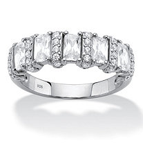 SETA JEWELRY Baguette-Cut Cubic Zirconia Anniversary Ring 1.99 TCW in Sterling Silver