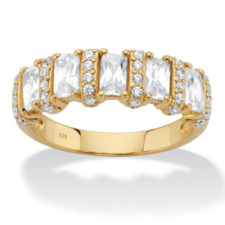 Baguette-Cut Cubic Zirconia Anniversary Ring 1.99 TCW in 18k Gold over Sterling Silver at PalmBeach Jewelry