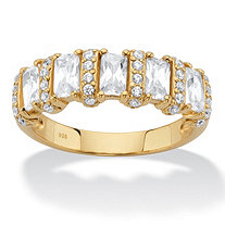 Baguette-Cut Cubic Zirconia Anniversary Ring 1.99 TCW in 18k Gold over Sterling Silver