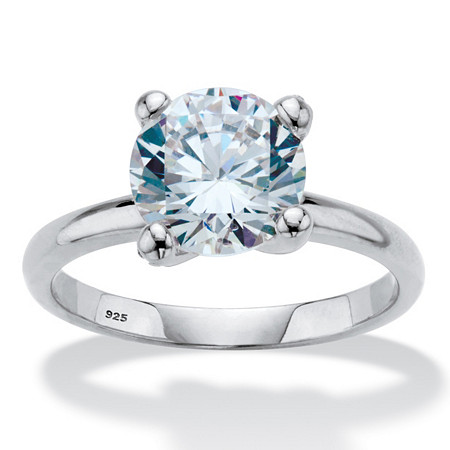 Round Cubic Zirconia Solitaire Engagement Ring 3.05 TCW in Sterling Silver at PalmBeach Jewelry