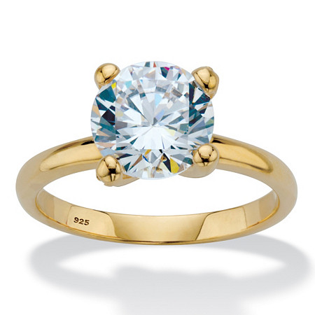 Round Cubic Zirconia Solitaire Engagement Ring 3.05 TCW in 18k Gold over Sterling Silver at PalmBeach Jewelry
