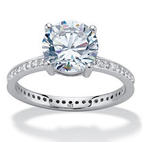 Round Cubic Zirconia Solitaire Eternity Engagement Ring 3.27 TCW in Sterling Silver