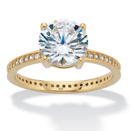 Round Cubic Zirconia Solitaire Eternity Engagement Ring 3.27 TCW in 18k Gold over Sterling Silver at PalmBeach Jewelry