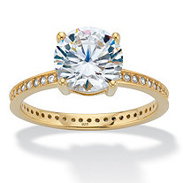 Round Cubic Zirconia Solitaire Eternity Engagement Ring 3.27 TCW in 18k Gold over Sterling Silver