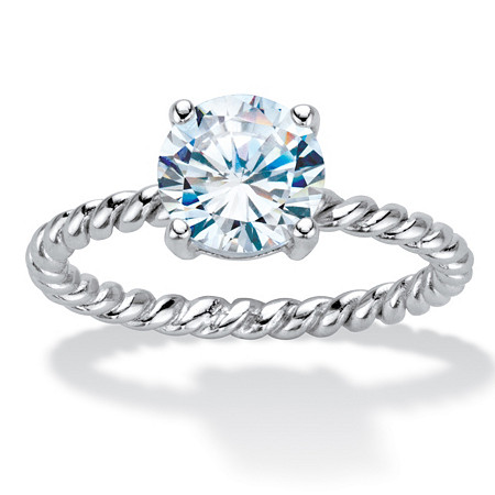 Round Cubic Zirconia Twisted Band Solitaire Engagement Ring 2 TCW in Sterling Sllver at PalmBeach Jewelry