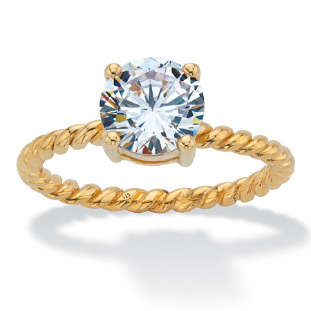 Round Cubic Zirconia Twisted Band Solitaire Engagement Ring 2 TCW in 18k Gold over Sterling Sllver at PalmBeach Jewelry