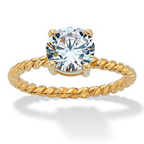 Round Cubic Zirconia Twisted Band Solitaire Engagement Ring 2 TCW in 18k Gold over Sterling Sllver