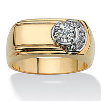 Men's TCW Round Cubic Zirconia Grooved Rectangle Ring .50 TCW 14k Gold-Plated