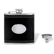"""Black Leather Flask in Stainless Steel and Silvertone 4.5"""""""
