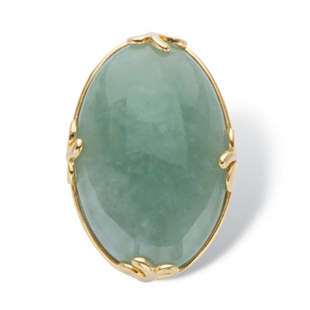 Genuine Green Jade Oval Cabochon Cocktail Ring 18k Gold-Plated at PalmBeach Jewelry