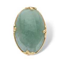 Genuine Green Jade Oval Cabochon Cocktail Ring