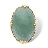 Genuine Green Jade Oval Cabochon Cocktail Ring 18k Gold-Plated