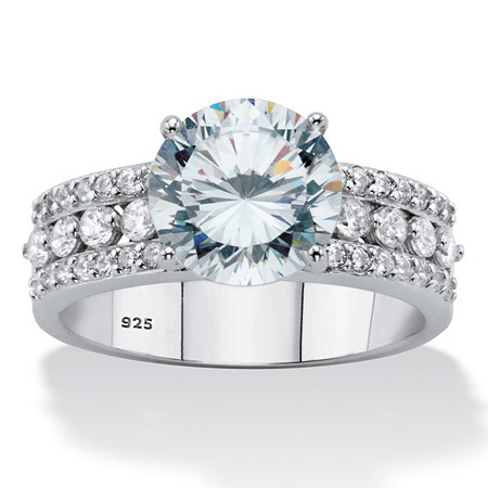 Round Cubic Zirconia Triple-Row Engagement Ring 3.62 TCW in Sterling Silver at PalmBeach Jewelry