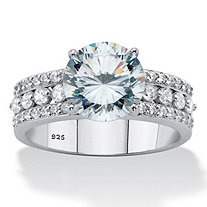 Round Cubic Zirconia Triple-Row Engagement Ring 3.62 TCW in Sterling Silver