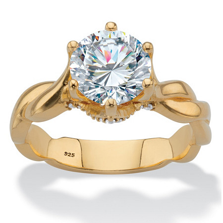 Round Cubic Zirconia Twisted Shank Engagement Ring 2.13 TCW in 18k Gold over Sterling Silver at PalmBeach Jewelry