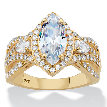 Marquise-Cut Cubic Zirconia Crossover Halo Engagement Ring 3.04 TCW in 18k Gold over Sterling Silver at PalmBeach Jewelry