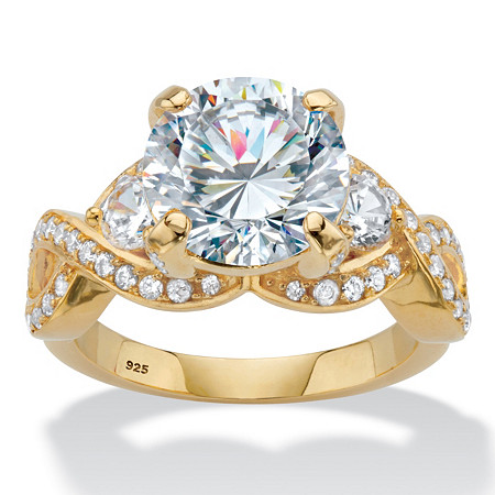 Round Cubic Zirconia Crossover Engagement Ring 4.98 TCW in 18k Gold over Sterling Silver at PalmBeach Jewelry