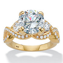 Round Cubic Zirconia Crossover Engagement Ring 4.98 TCW in 18k Gold over Sterling Silver