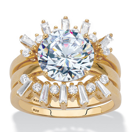 Round and Baguette-Cut Cubic Zirconia 3-Piece Crown Bridal Ring Set 4 TCW in 18k Gold over Sterling Silver at PalmBeach Jewelry