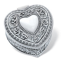 """Heart-Shaped Antiqued Stainless Steel Scrolled Hinged Jewelry Box 3"""""""