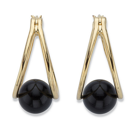 "Genuine Black Onyx Beaded Double Hoop Earrings in 14k Gold over Sterling Silver 75"" at PalmBeach Jewelry"