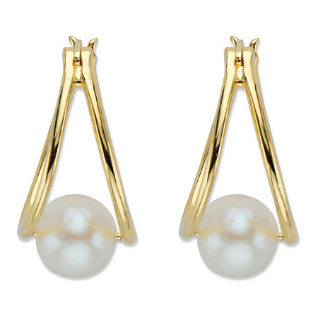 Genuine Cultured Freshwater Pearl Double Hoop Earrings in 14k Gold over Sterling Silver at PalmBeach Jewelry