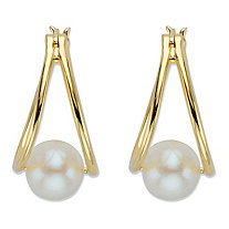 Genuine Cultured Freshwater Pearl Double Hoop Earrings in 14k Gold over Sterling Silver