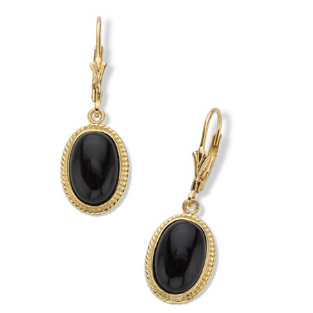 Oval-Cut Genuine Black Onyx Cabochon Lever Back Drop Earrings in 14k Gold over Sterling Silver at PalmBeach Jewelry