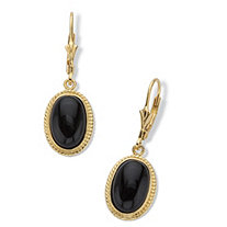 Oval-Cut Genuine Black Onyx Cabochon Lever Back Drop Earrings in 14k Gold over Sterling Silver