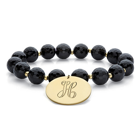 "Genuine Black Onyx Personalized Beaded Stretch Charm Bracelet 14k Gold-Plated 7"" at PalmBeach Jewelry"