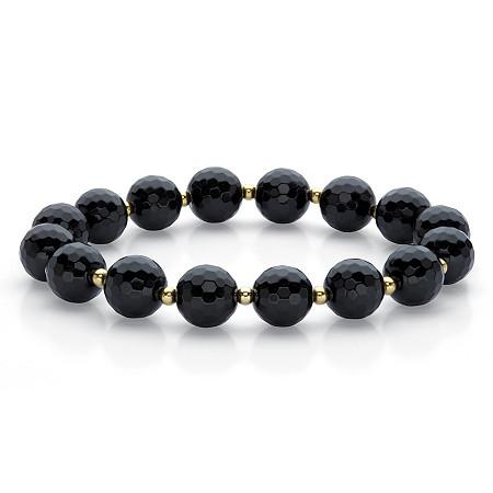 "Genuine Checkerboard-Cut Black Onyx Beaded Stretch Bracelet 14k Gold-Plated 7"" at PalmBeach Jewelry"