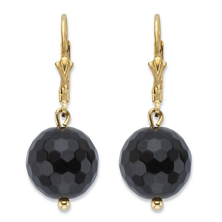 Genuine Black Onyx Bead Drop Earrings in 14k Gold over Sterling Silver at PalmBeach Jewelry