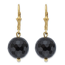Genuine Black Onyx Bead Drop Earrings in 14k Gold over Sterling Silver