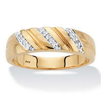 Men's Diamond Accent Diagonal Wedding Band in 18k Gold over Sterling Silver