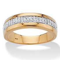 Men's 1/6 TCW Diamond Accent Wedding Ring in 18k Gold over Sterling Silver