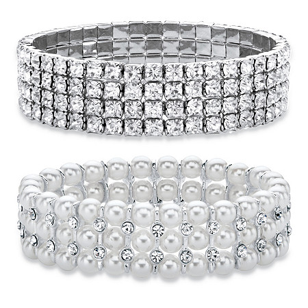 "Crystal Silvertone Stretch Bracelet 7"" BONUS: Buy the Crystal Bracelet, Get the Pearl and Crystal Bracelet FREE! Silvertone 7"" at PalmBeach Jewelry"