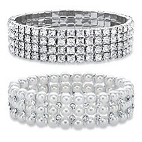 "Crystal Silvertone Stretch Bracelet 7"" BONUS: Buy the Crystal Bracelet, Get the Pearl and Crystal Bracelet FREE! Silvertone 7"""